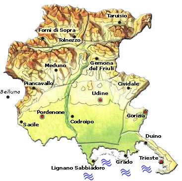 Cartina Friuli Venezia Giulia Province.Regione Friuli Venezia Giulia
