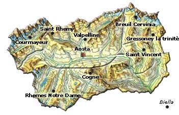 Cartina Valle D Aosta Dettagliata.Regione Valle D Aosta