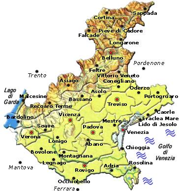 Cartina Dettagliata Veneto.Regione Veneto